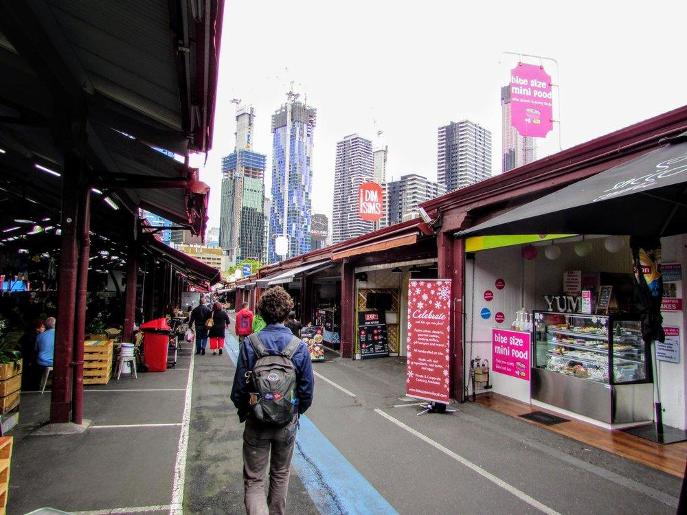 Emmett walking through Queen Victoria Market