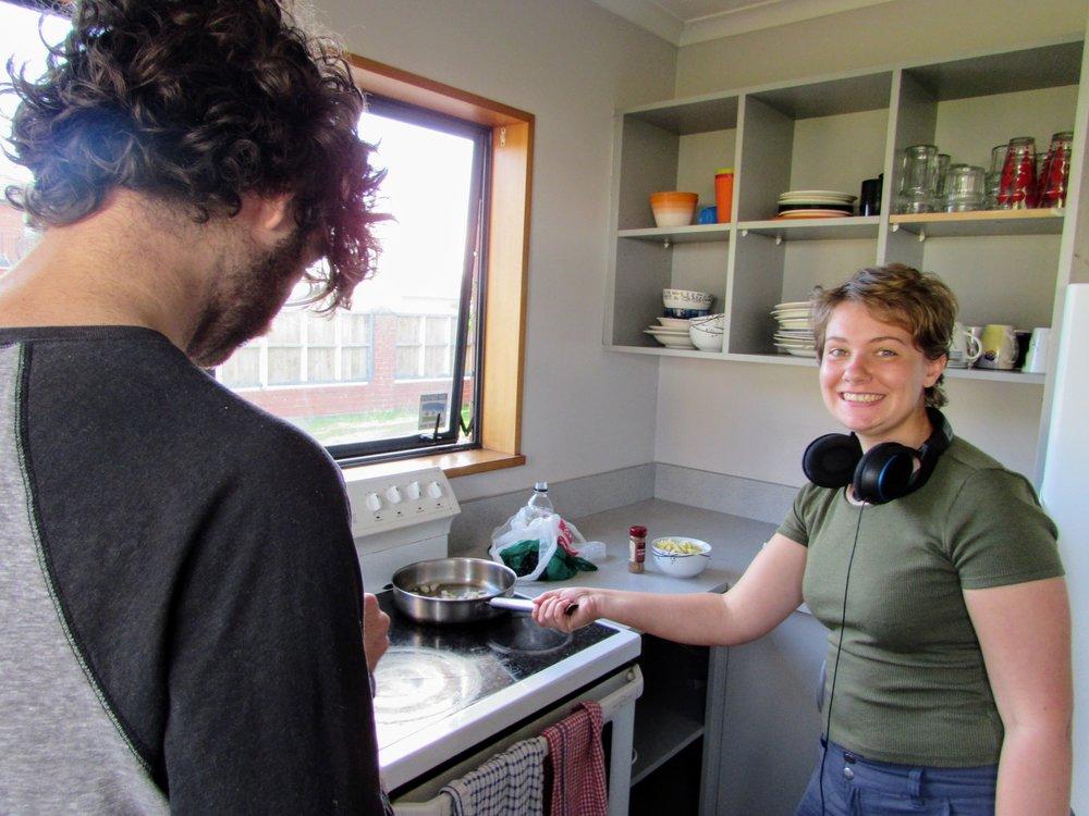 Judith making Dutch pancakes