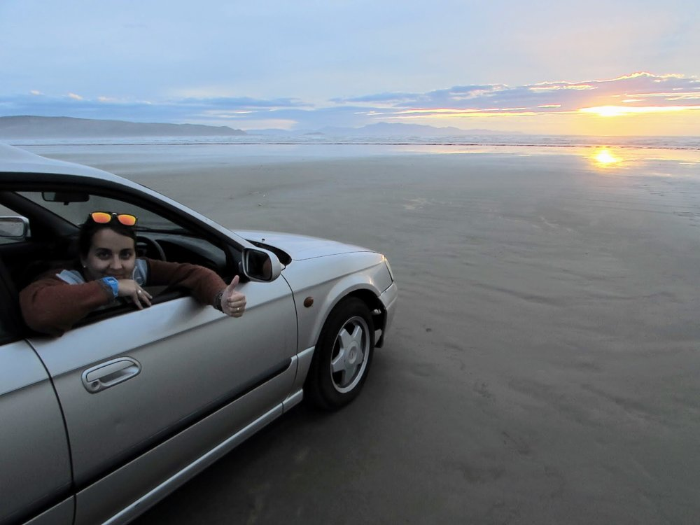 Our inaugural drive was to Oreti Beach at sunset.