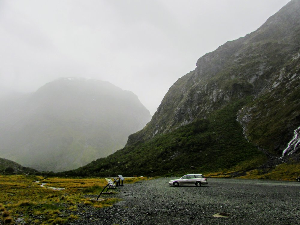 misty road in milford sound