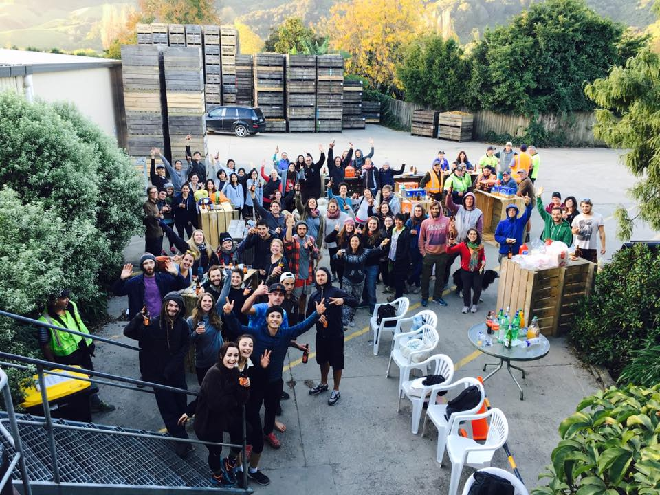 The whole packhouse crew at a work party outside the packhouse.