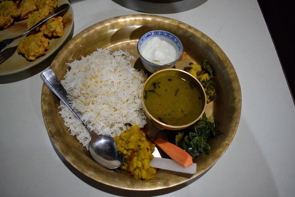 Dal bhat at Himali Kitchen in Thamel, Kathmandu.