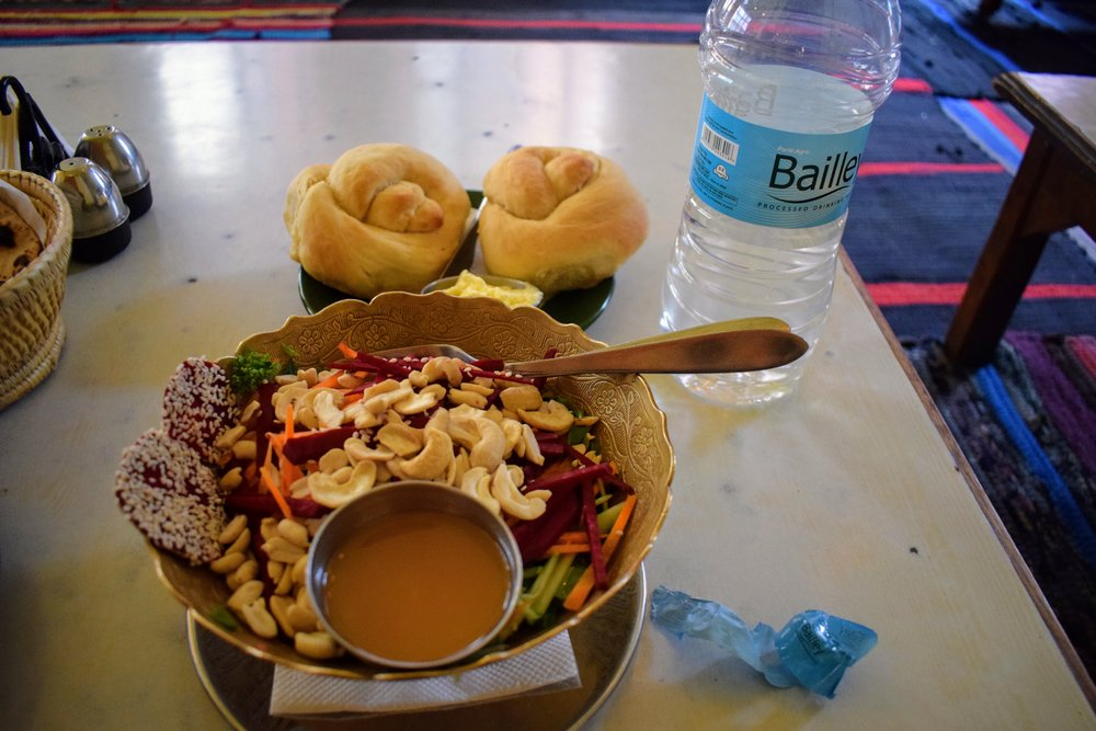 Cashew & Beet Salad + Fresh Rolls & Yak Butter at OR2K Kathmandu