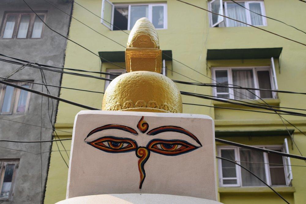 The Buddha's eyes on a stupa in Kathmandu, Nepal