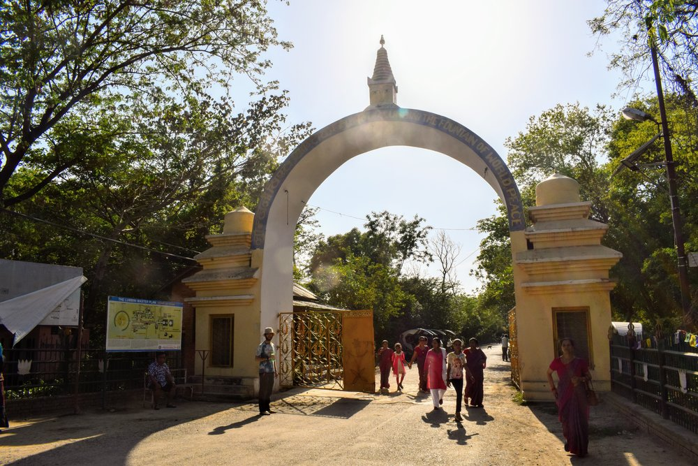entrance to the heritage site at Lumbini