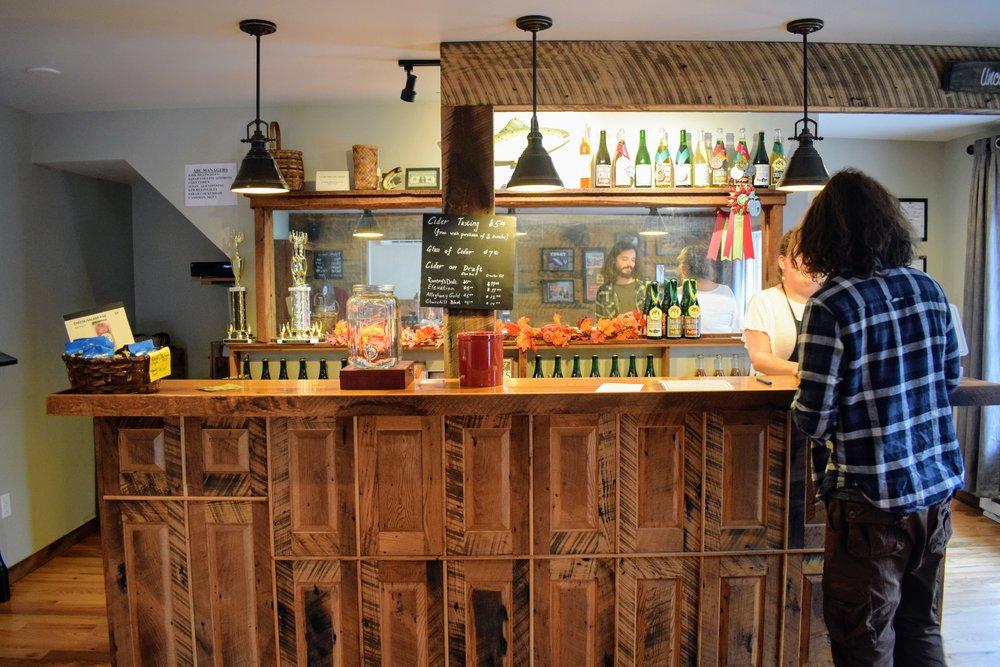 Inside Big Fish Cider's tasting room.