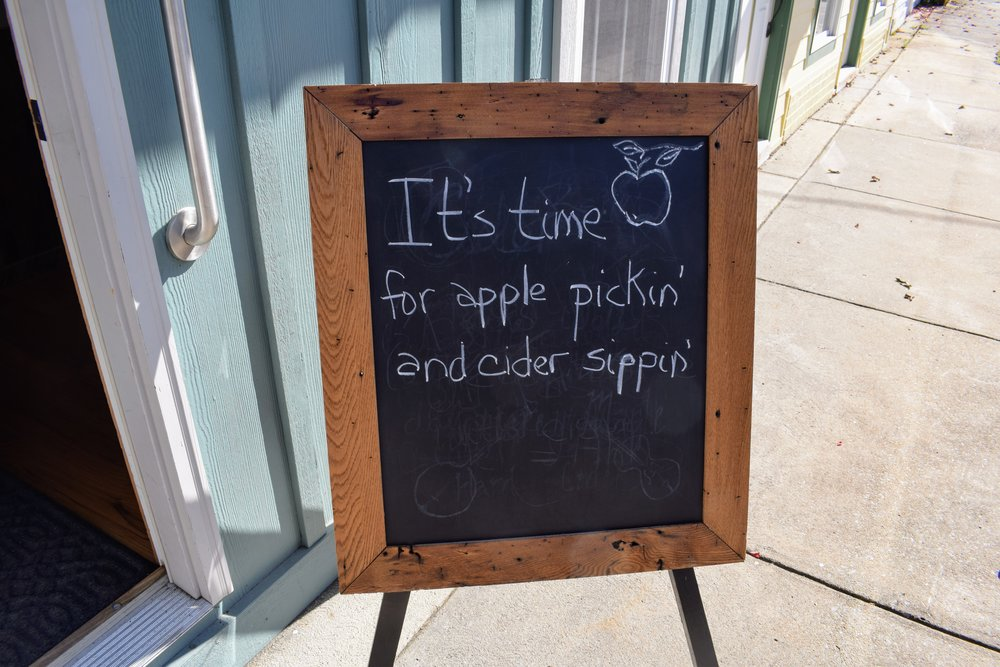 Happy Fall, y'all. This sign outside of Big Fish Cider in Monterey says it best.