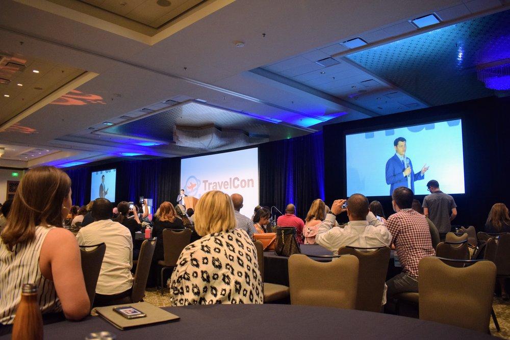During Nomadic Matt's opening talk on Day 1 of Travel Con 2018 in Austin, Texas