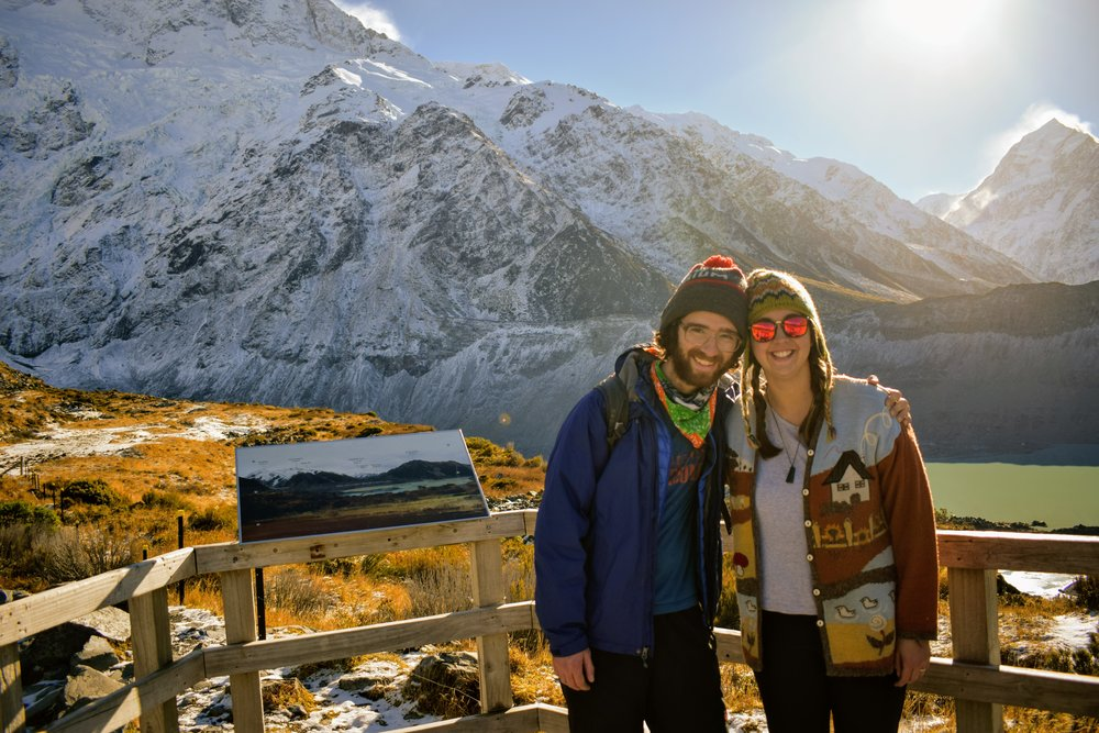 Emmett and I on our New Zealand Working Holiday - Mount Cook National Park, 2017