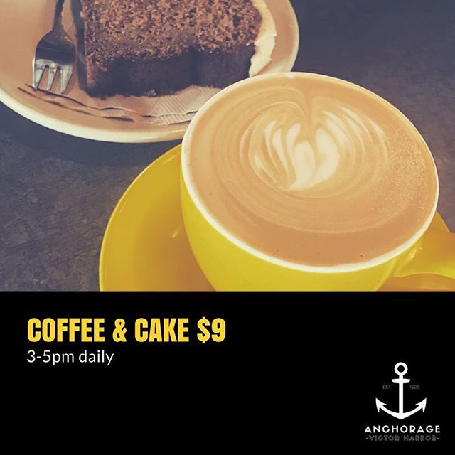 Two of our favourite things ☕️ 🍰🙌✨ #victorharbor #fleurieu #fleurieupeninsula #coffee #coffeeandcake