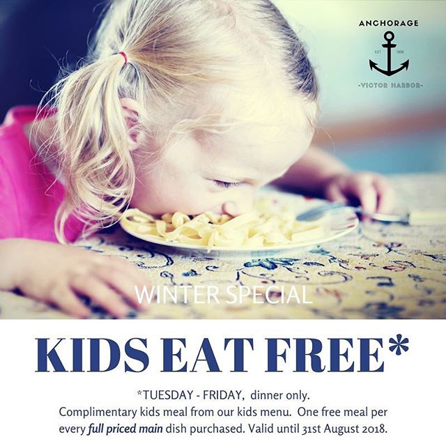 It's back!  Kids eat free for dinner this winter.  Take the night off and bring the family in to relax fireside 🔥 #winterspecial #victorharbor #kidseatfree #fleurieupeninsula #fabulousfleurieu #ichoosesa #southaustralianbeaches @victorharborvisitorcentre @encountervictorharbor