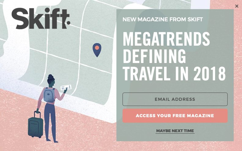This is a good example of a CTA on the Skift.com website