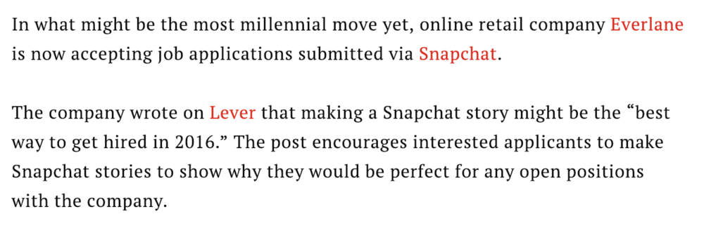 This Company Actually Wants You To Snapchat Your Job Application - Time, 2016