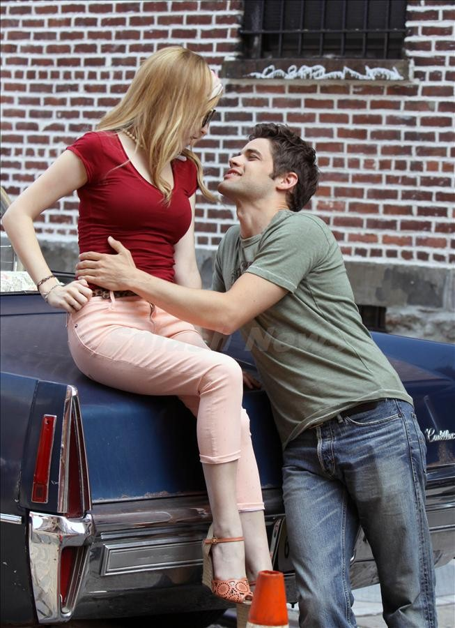 Anna Kendrick and Jeremy Jordan pictured filming a romantic kissing scene on the set of 'The Last 5 Years' movie in Water St in Dumbo, Brooklyn