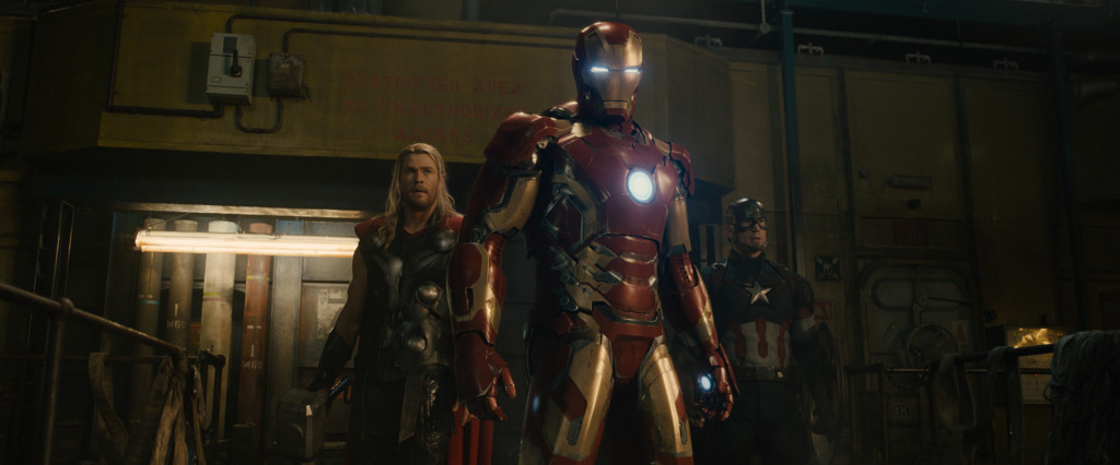 Marvel's Avengers: Age Of Ultron..L to R: Thor (Chris Hemsworth), Iron Man/Tony Stark (Robert Downey Jr.) and Captain America/Steve Rogers (Chris Evans) ..Ph: Film Frame..©Marvel 2015