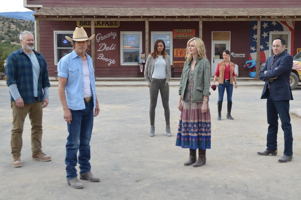 The new generation of graboid hunters, ready for action (l-r) John Ellison Conlee (Harlan), Kevin Bacon (Val), Toks Olagundoye (Jessica), Megan Ketch (Mindy), Uni Park (Grace) and PJ Byrne (Melvin)