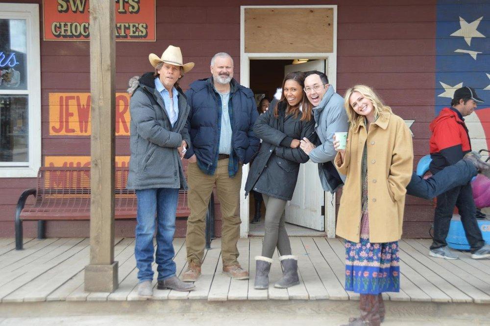 The Tremors team - (l-r) Kevin Bacon (Val), John Ellison Conlee (Harlan), Toks Olagundoye (Jessica), PJ Byrne (Melvin) and Megan Ketch (Mindy)