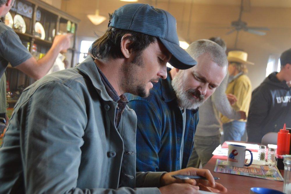 Director Vincenzo Natali with John Ellison Conlee (Harlan)