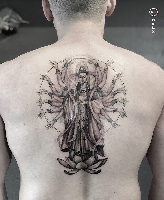 Guanyin | @notkevinjao 's first tattoo. Partially healed. What a trooper, thanks dude! ⋅ ☞ @undrgrnd.sf ⋅ ⋅ ⋅ ⋅ ⋅ ⋅ #buddhatattoo #mklx #undrgrndsf #queertattooartist #tattoo #minimaltattoo #lineworktattoo #fineline #QTTR  #bayareatattoo #sanfranciscotattooartist
