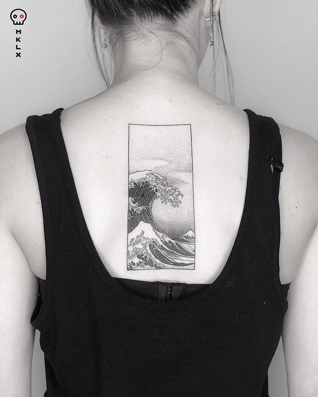 The Great Wave for Simone⋅ Done @undrgrnd.sf ⋅ ⋅ ⋅ ⋅ ⋅ ⋅ #thegreatwave #wavetattoo #lineart #linetattoo #mklx #undrgrndsf #queertattooartist #tattoo #minimaltattoo #lineworktattoo #fineline #QTTR  #bayareatattoo #sanfranciscotattooartist