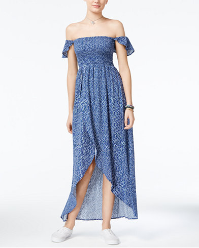 American Rag - Printed Off-The-Shoulder Tulip-Hem Maxi Dress