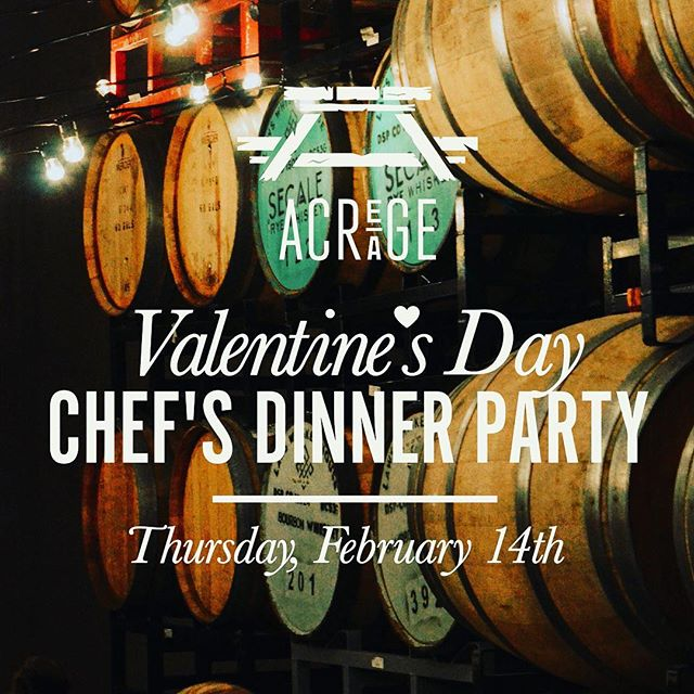 Chef Kelly Whitaker teams up with Acreage's Chef Eric Lee for a very special Valentine tasting menu in the exclusive Barrel Room at Acreage. Meal includes a Cidery tour with Co-Founder Eric Foster. We are so excited about this dinner collaboration!! Only a couple seats left. You can link in our bio to grab those seats!