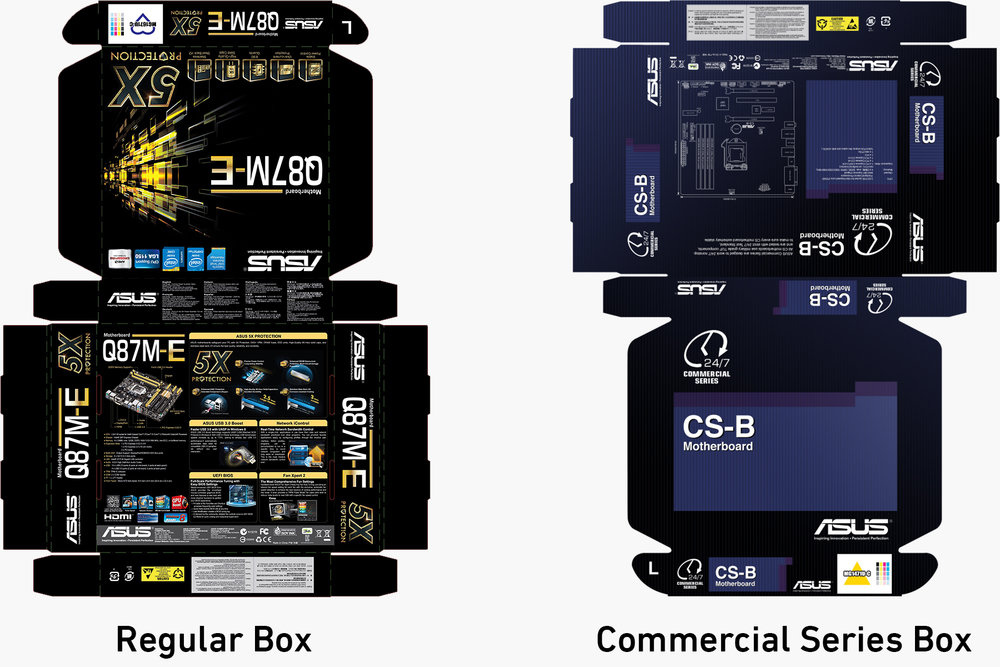 Packaging Design - Because the marketing theme and materials we used for other regular motherboards focused a lot on value-added features, we wanted to give the marketing materials of Commercial Series a different look, with a more professional and calm touch. I proposed an initial design with a dark blue theme, which removed all the unnecessary feature introductions that commercial customers didn't need to know.