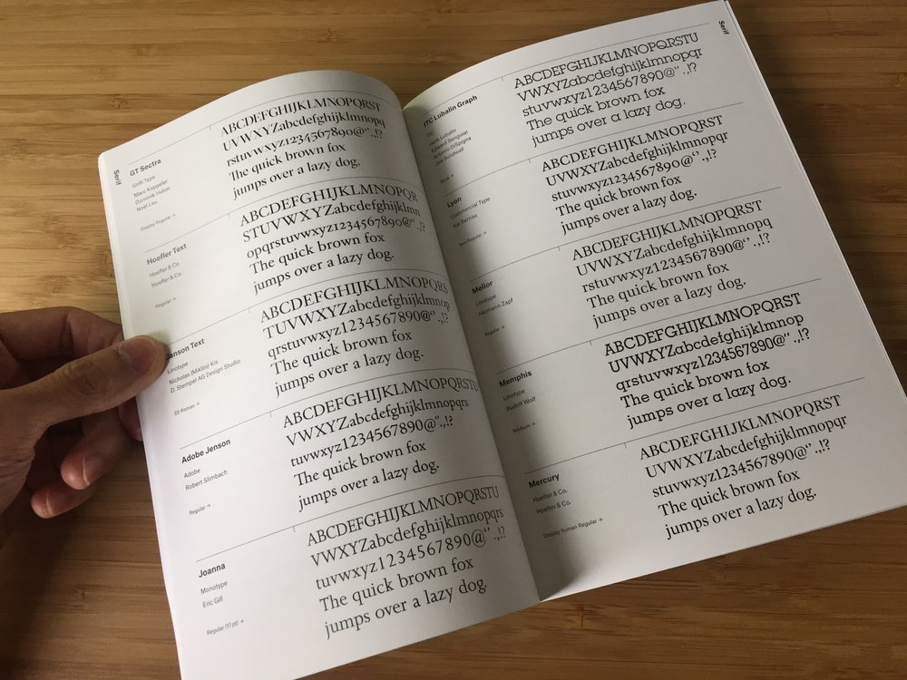 Many visual designers have a handbook that puts typefaces side by side.