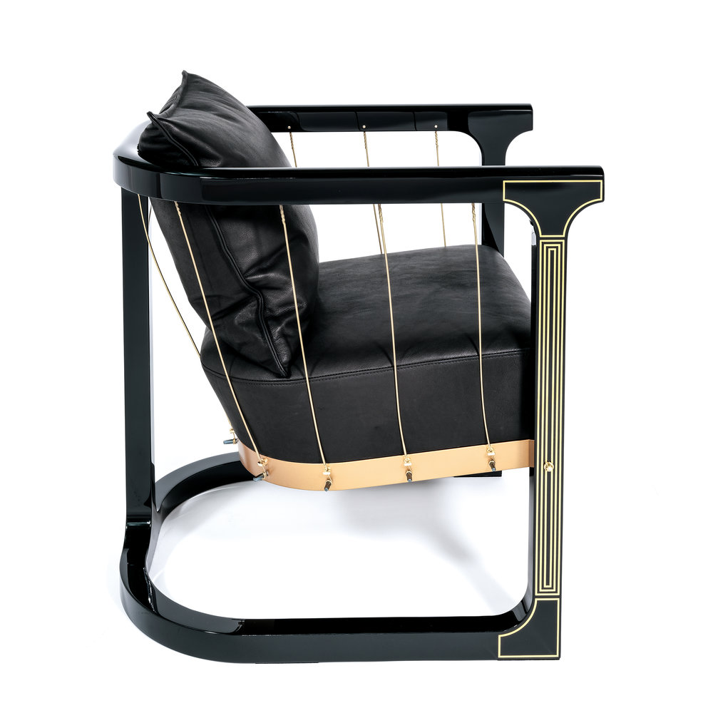 'Grand'   Brass, Black lacquer, Steel, Wood, Leather   Armchair, 2016     More info