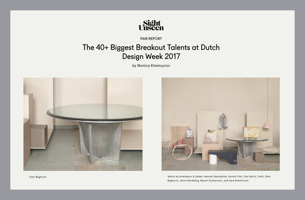 Sight Unseen Biggest Breakout Talents at Dutch Design Week 2017