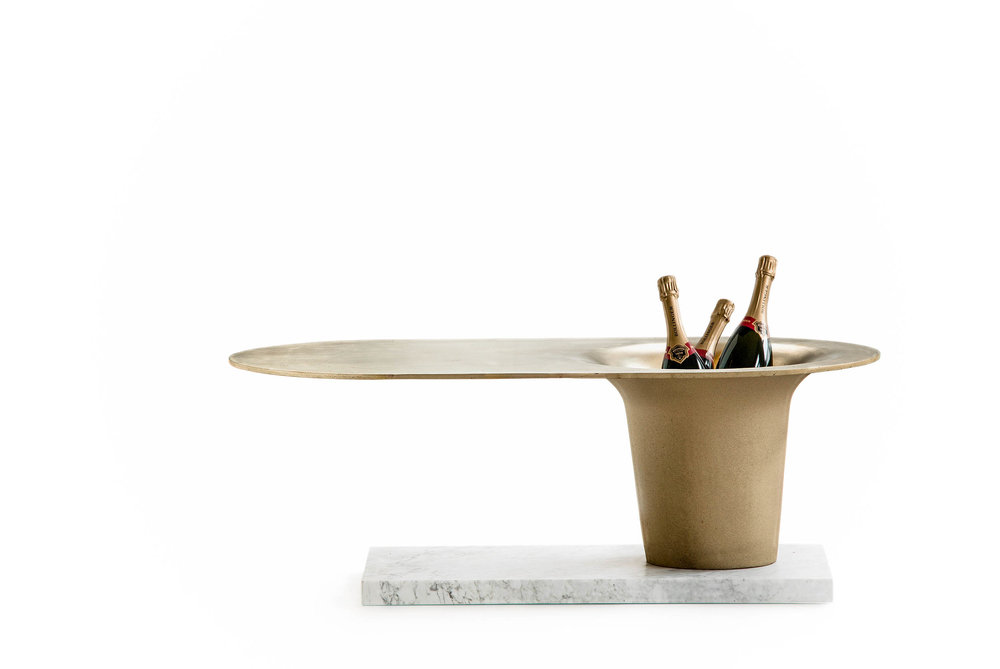 THE CHAMPAGNE TABLE, Glen Baghurst, 2016, solid brass, stone base, limited edition 300 pcs.
