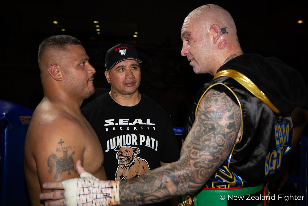Lucas Browne comforts Junior Pati after their fight at Fists of Fury VIII -  Photo by Jamie Patterson