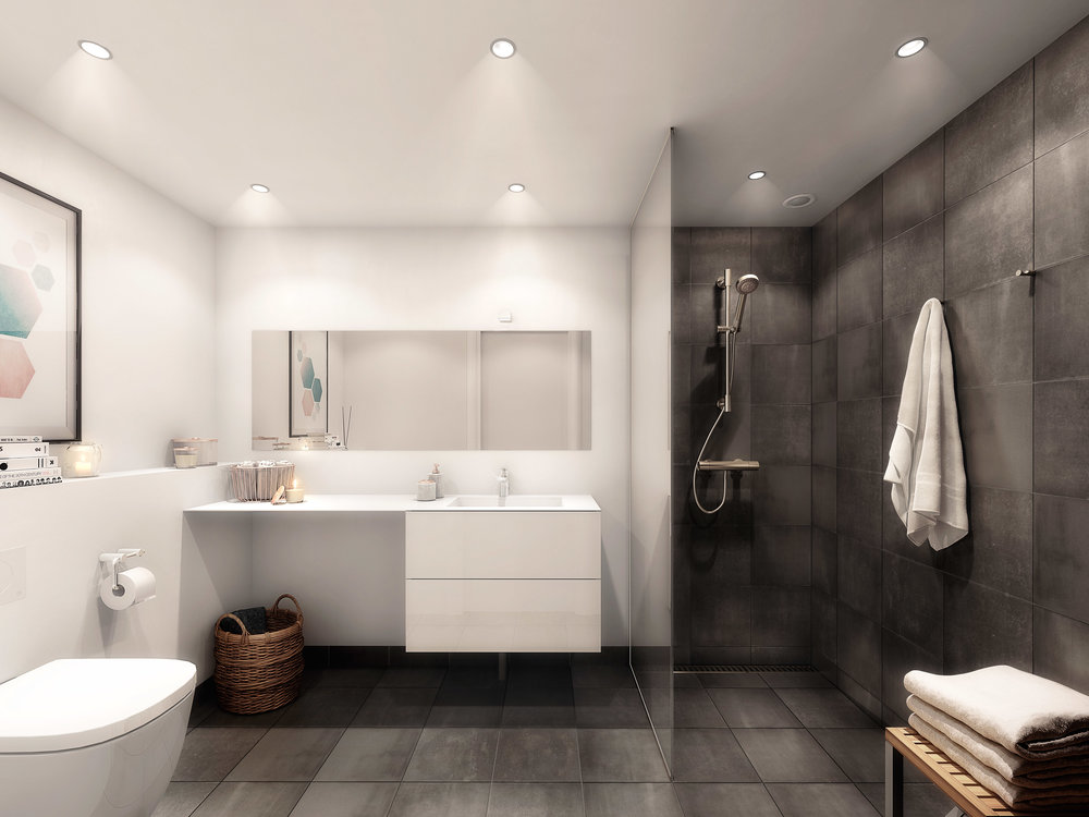 Vedbæk Park - Bathroom in dwelling project in Copenhagen, Denmark