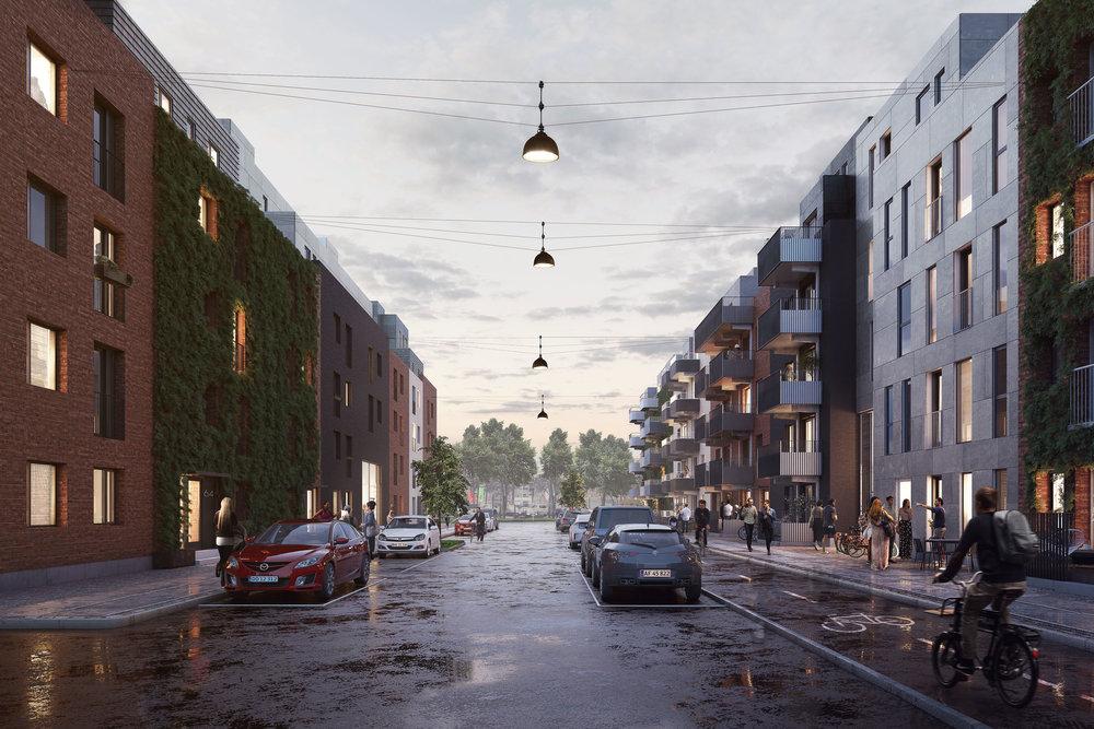 Street in Mjølnerparken, Copenhagen DK.
