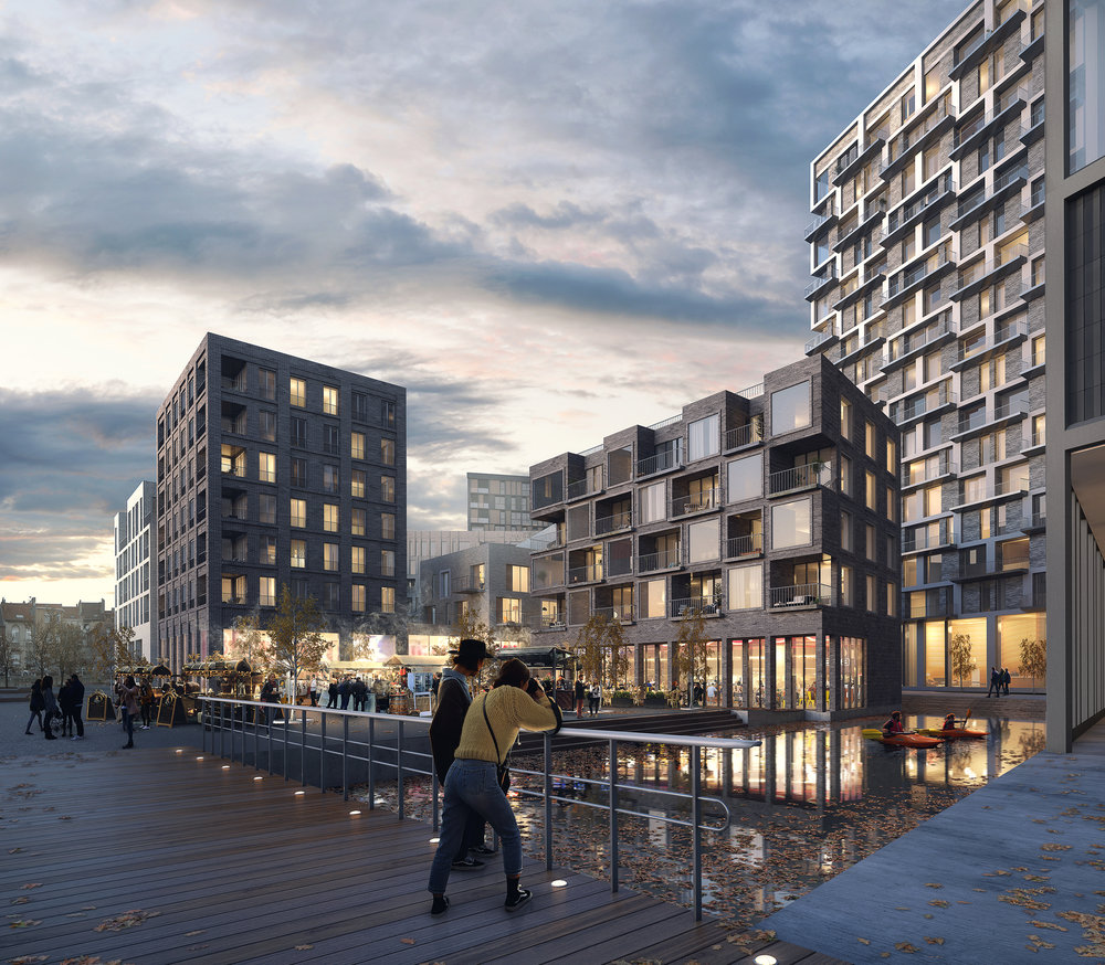 Les Rives - Competition winning masterplan visualisation.