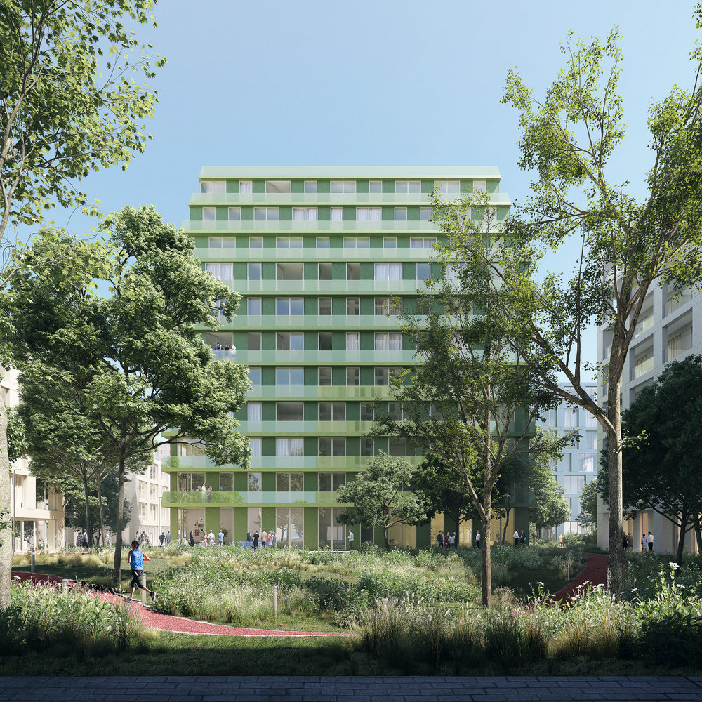 Leiden Bio Science Park. Daytime image of landscape in housing project in Leiden, Netherlands.