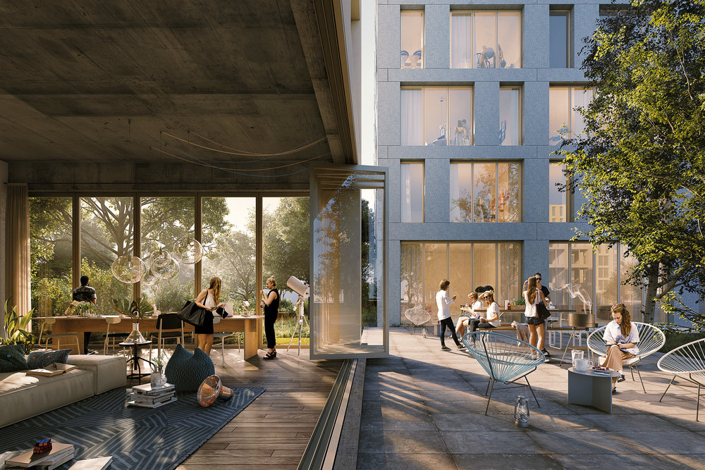Leiden Bio Science Park. Inexterior image of shared space in housing project in Leiden, Netherlands.