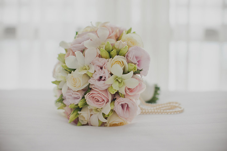 Blush Orchid Pearls Bouquet Wedding Flowers Auckland