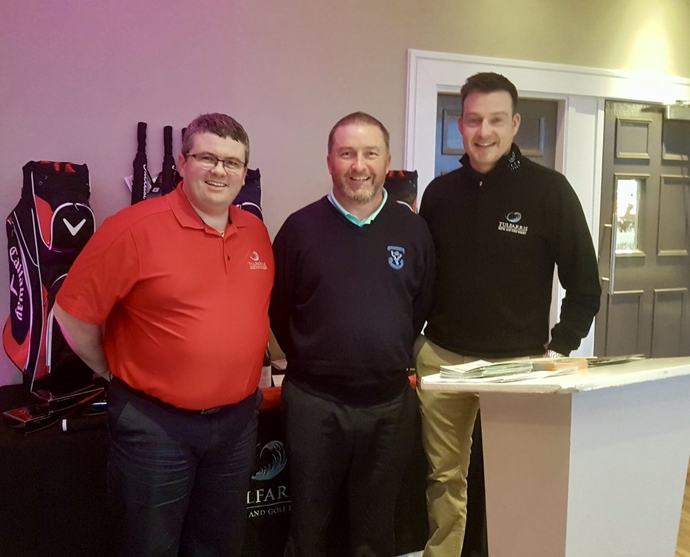 Winning Professional Damien McGrane (Carlow Golf Club) with Pat Barrett & Simon Thornton. Winning Score -3.