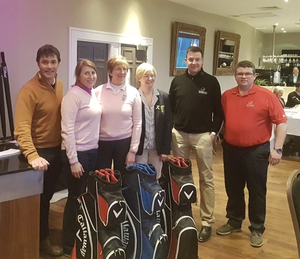 Winning Team with Professional Simon Thornton and Tulfarris BDM Pat Barrett are Tim Rice (Limerick Golf Club) Catherine Curley, Rosaline Prescott & Mags Ryan. Winning Score of 92pts.