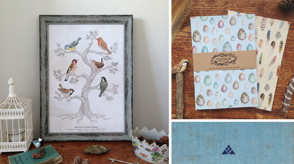 Garden Birds A3 Art Print and Shell Feather A5 Notebooks