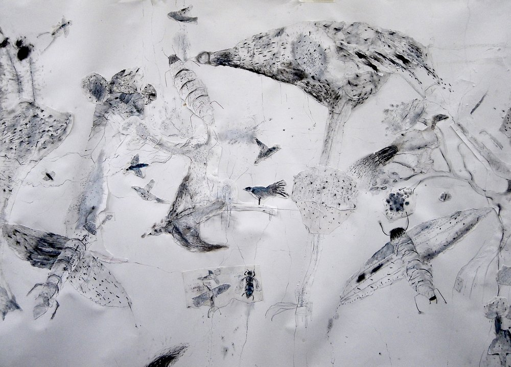 A section of the collaged drawing on the second piece of paper
