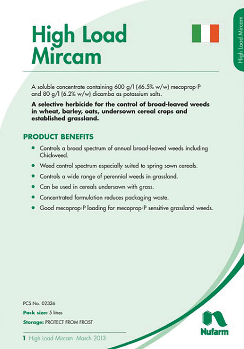 HI LOAD MIRCAM 5L  Product Code :-  N3108  NOW   €110