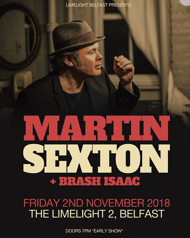 Andrew will be doing an acoustic opening slot supporting American singer/songwriter @martinsexton this November in the good old @limelight.belfast