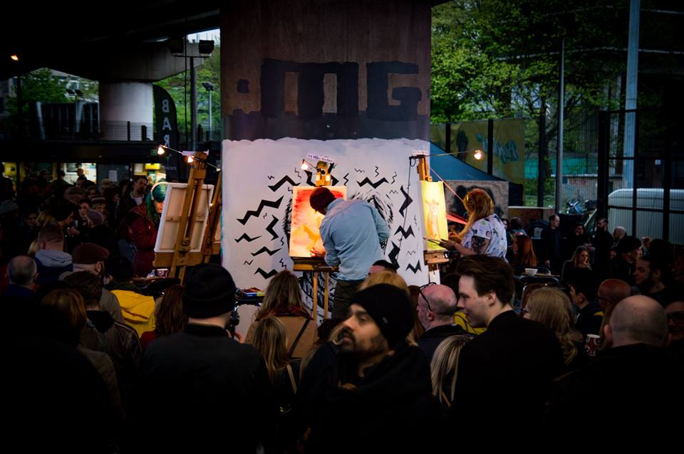 On stage with Art Battle Manchester with an audience of over 500 spectators - 30 minutes to create a piece of art from start to finish.