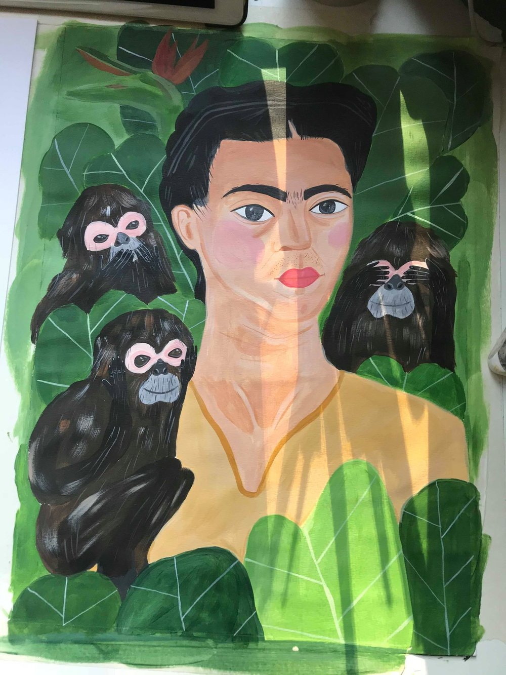 Painting in progress / Frida and the three wise Monkey's