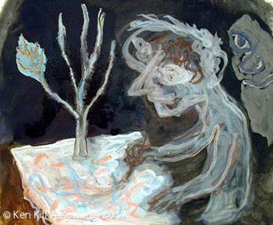 Ken Kiff - Untitled, Encaustic Painting (1996)