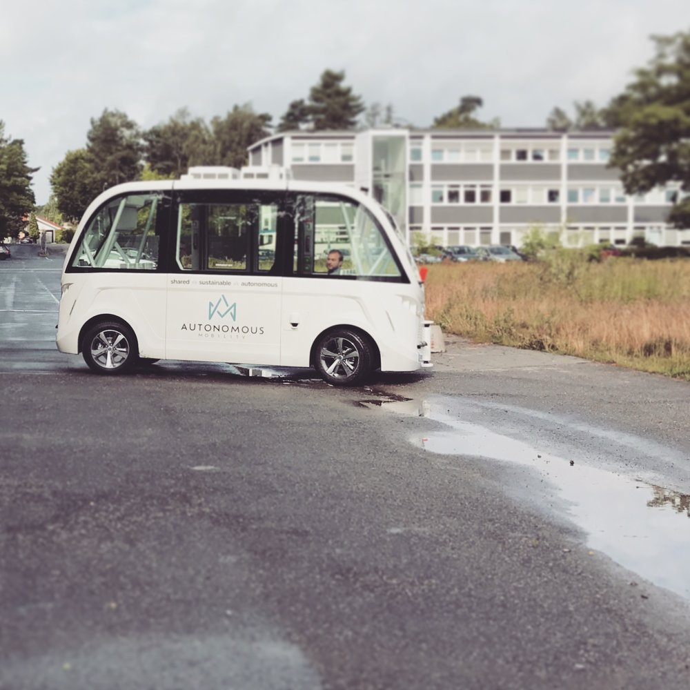 The self-driving bus Arma at our DTU test-track.