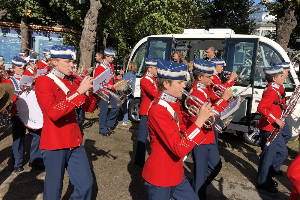 The marching band came by the bus in Tivoli Gardens