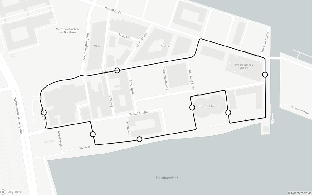 The route in Nordhavn
